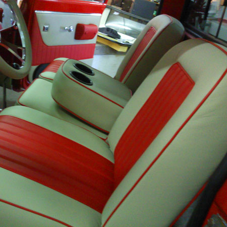 Richards upholstery in Olympia WA automobile portfolio image 5: red and white restored interior upholstery