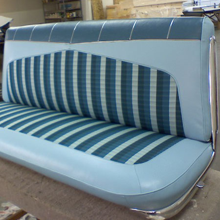 Richards upholstery in Olympia WA automobile portfolio image 6: blue themed restored car bench seat