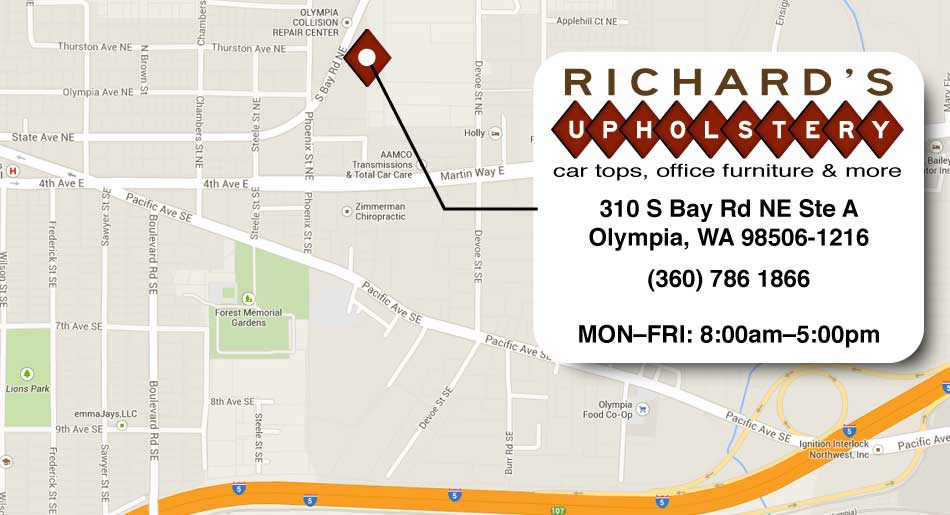 map of richard's upholstery in olympia washington: 310 S Bay Rd NE Suite A, Olympia wa 98506